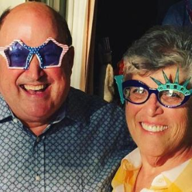 Bill Zwecker and Karen Harding at July 4th party