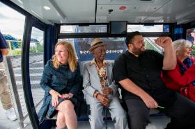 Marilynn Gardner (L), John Vincent (2nd from R) and friends take a centennial ride!