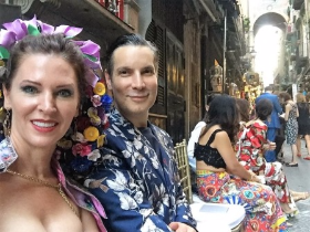Author/documentarian Leslie Zemeckis and Decades' Cameron Silver enjoying front row seats at D & G Alta Moda show in Naples