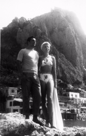 Burlesque queen Lili St. Cyr on her Capri honeymoon with restaurateur Armando Orsini