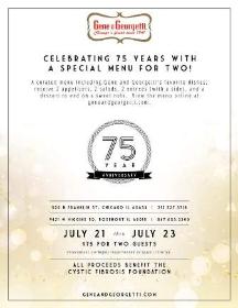 Gene & Georgetti's 75th anniversary celebration info