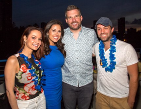 Fox 32's Jenny Milkowski, NBC's Marley Kayden, KISS FM's Fred and Jared Hoffa