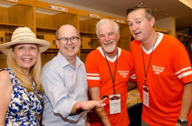 Mark Tebbe, Field Museum trustee, his wife Robin, trustee Tom Ricketts (far right) with Museum scientist Jim Lauderman