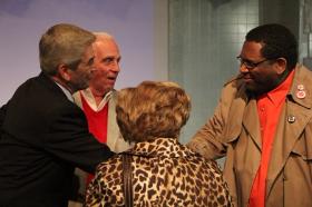 Tom Dreesen acknowledges former Tuskegee Airman Lawton Wilkerson (NBC radio)