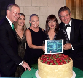 With Green Tie Ball's Grant and Joanna Deporter and Maureen and Marc Schulman and a 150 lb. Eli's Cheesecake!