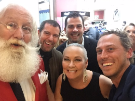 With Santa and fellow co-hosts Tom Kehoe, Trevor Heffernan and Graham Kostic at J. Toor