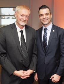 Honoree Erik Larson and Commissioner Brian Bannon
