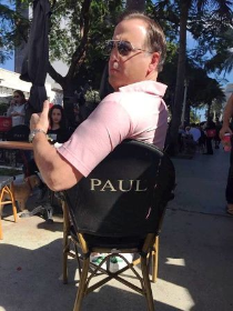 Paul Iacono has his own chair on Lincoln Road!