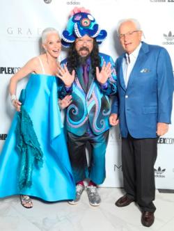 Katherine Chez Malkin and Judd Malkin with Takashi Murakami
