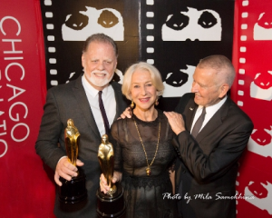 Taylor Hackford and Helen Mirren with Gold Hugos presented by Michael Kutza