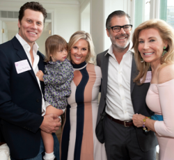 Hayes MacArthur (holding his daughter Vivienne), Kristen and Gordon Gray and Shelley Farley