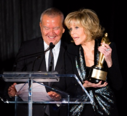 Michael Kutza presents Fonda with Gold Hugo for Lifetime Achievement