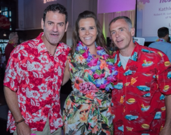 H Foundation executive director Cortney Frahm (center) with actor David Eigenberg (R) and emcee Pete McMurray (L)