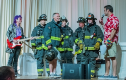 David Eigenberg with Jim Peterik, McMurray and members of the Chicago Fire Department