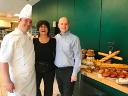 Maria Pappas with school co-founder Jacquy Pfeiffer (R) and chef/instructor