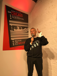 Cinema Chicago pres/CEO and Film Fest founder Michael Kutza introduces winning poster