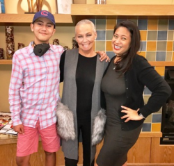 With Maxx, 13, and his mom Liz Herrick at the world's largest Ronald McDonald House recently