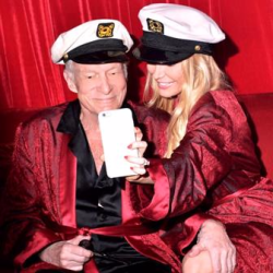 Crystal and Hef clowning around. Say what you will about their age difference--they enjoyed each other's company