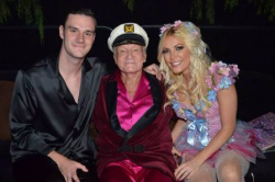 Cooper, Hef and Crystal at Midsummer Night's Dream party