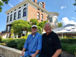 Rod Lavender and Chuck in front of the famous (haunted) Lemp Mansion in St. Louis