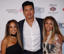Mary Landaverde (INDISTRY TV's CEO), host Mario Lopez and her sister and INDISTRY TV's COO, Erroll Angara
