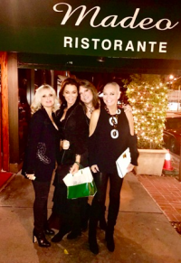 The gang's all here! With bestie Tissy Eggleston (2nd from L), Cathy St. George (L) and Ava Fabian at Madeo's.