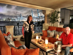 Jan Melk and Chuck on her exquisite Fisher Island patio