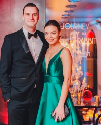 Cooper Hefner and his beautiful fianceé, actress Scarlett Byrne. (Photo by Patrick Record)