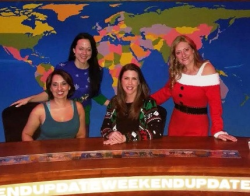 Nicole Harris, Lisa Payne, Michele Kerulis, and Kerry Thon on the Weekend Update set