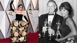 Rita Moreno, in her Oscar dress now and 60 years ago!