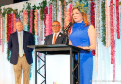 Navy Pier president/CEO Marilynn Gardner at the podium with (from L) Mike Nowak and Tony Abruscato (Chicago Flower & Garden Show director)
