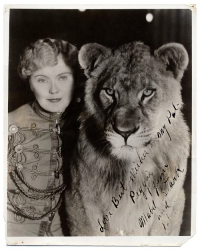 "Mabel Stark, subject of Leslie Zemeckis' latest film ""Mabel, Mabel, Tiger Trainer"""
