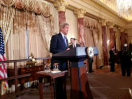 Secretary of State John Kerry addresses the chefs.