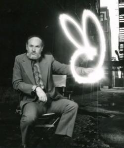 Art Paul beside his creation, the Playboy logo!