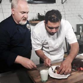 Art teaches Chef Hector Guerrero how to make his grandma's 12-layer chocolate cake in Vilnius!
