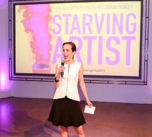 Chicago Artists Coalition Executive Director Caroline Older offers remarks at Starving Artist 2015