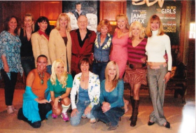 With Hef, fellow Playmates and Holly (front, 2nd from L) at LA Mansion.