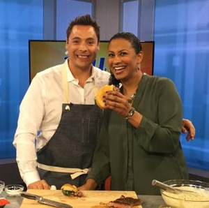 "Pork & Mindy's executive chef Jeff Mauro with WCIU's ""You & Me This Morning's"" Jeanne Sparrow"