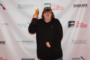 Michael Moore with his Founders Award