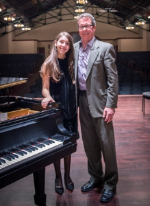 Child prodigy/pianist Daniela Liebman with Ravinia pres/CEO Welz Kauffman.