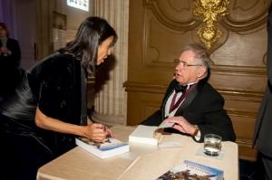 Literature Award recipient David Hackett Fischer with Mayari Pritzker