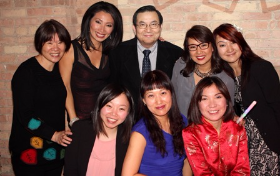Emcees Judy Hsu and Nancy Loo with friends