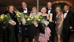Members of the Founder's Circle-- Estelle Walgreen, Andrew Farley, Nancy Firfer, Dolores Kohl Kaplan and Frederick Waddell with event co-chairs Erin and Brandon Beavers