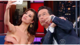 Playboy's recent covergirl Sarah McDaniel on the Stephen Colbert show.