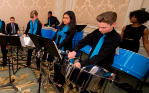 CYSO steel orchestra students perform during the reception