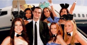 Cooper Hefner in a photo inspired by one of his dad's vintage photos.