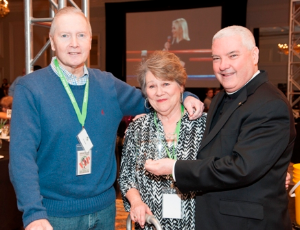 Jim Ryan Sr. and wife Marie with Monsignor Boland