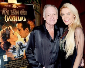 Hef and Crystal on his 90th BD
