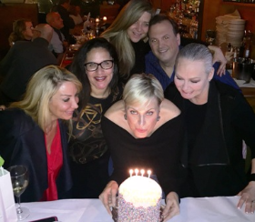 With Leah Chavie, Julia Jacobs-Sanford, Lori Allen and Paul Iacono for Jennifer Sutton Brieva's birthday at Topo