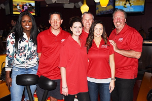 Olympic bobsledder Aja Evans with Devin Cronin, Jacqueline and Tom Bahr, Jessica Helmer and Mark Clemens